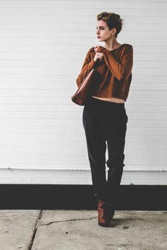 How to wear: brown cropped sweater, black pajama pants, brown leather lace-up ankle boots, brown leather tote bag