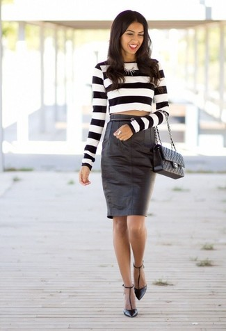 How to wear: white and black horizontal striped cropped sweater, black leather pencil skirt, black leather pumps, black quilted leather satchel bag