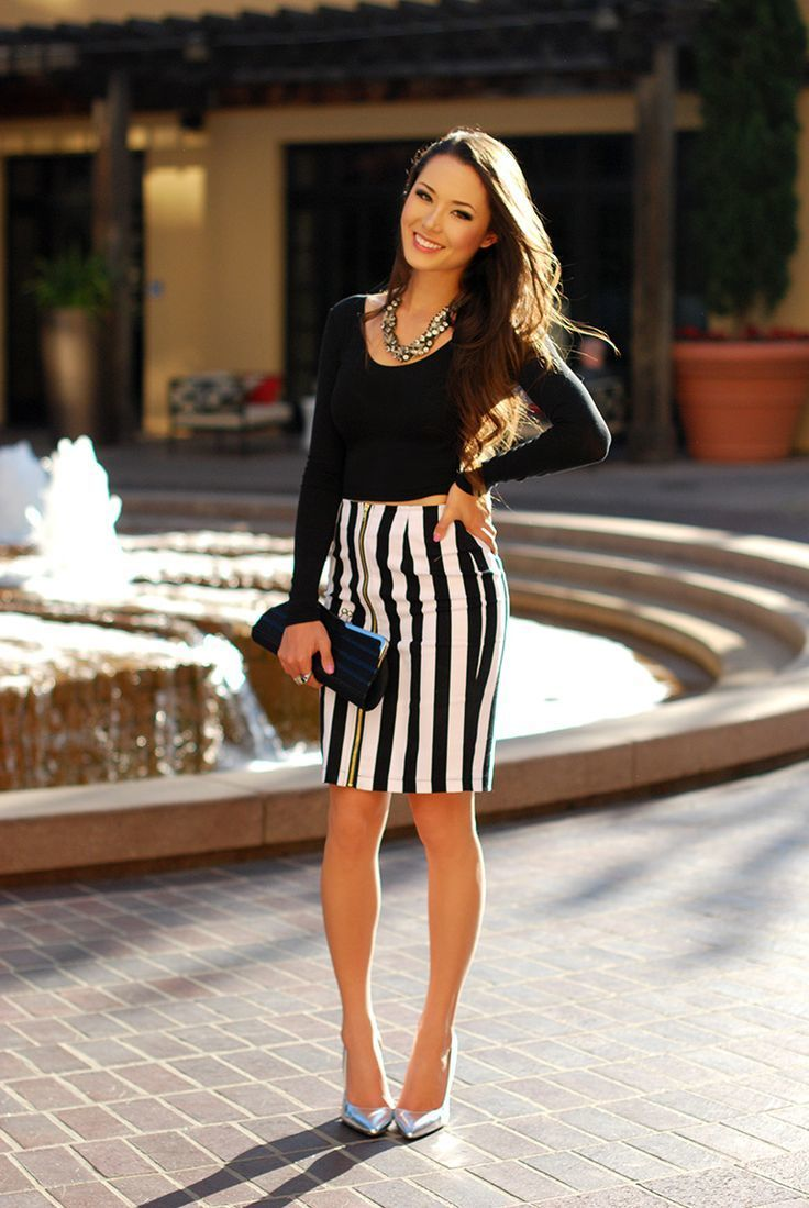 How to Wear a White and Black Pencil Skirt (94 looks) | Women's ...