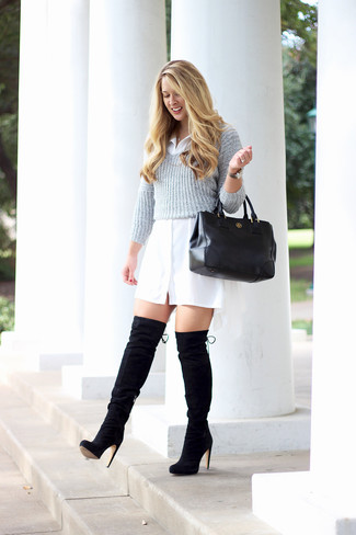 How to wear: grey cropped sweater, white shirtdress, black suede over the knee boots, black leather tote bag