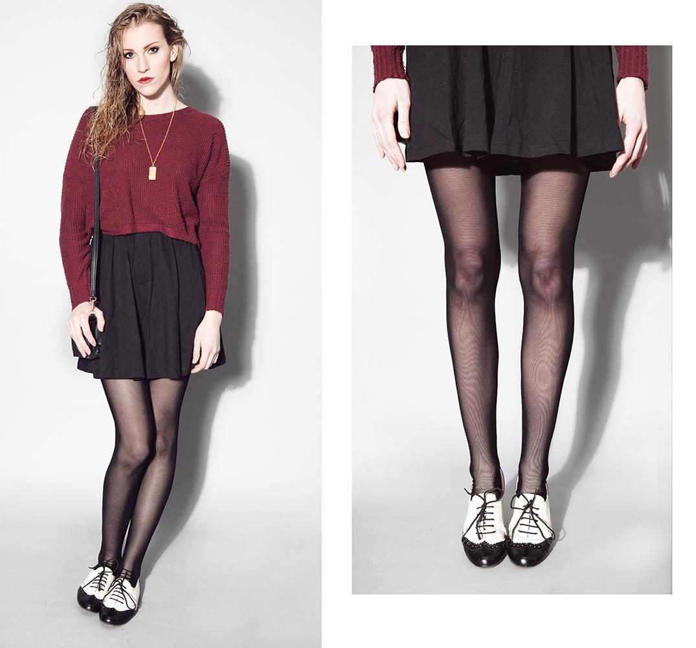 Women's Burgundy Cropped Sweater, Black Skater Skirt, White and ...