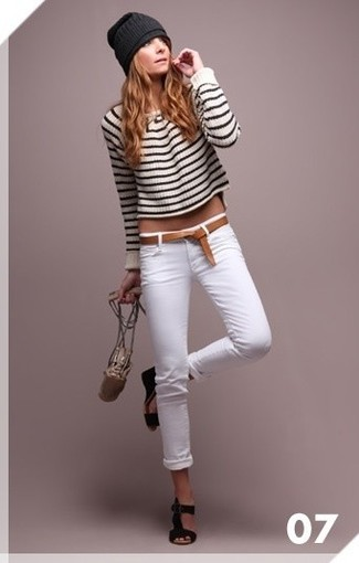 Women's White and Black Horizontal Striped Cropped Sweater, White ...