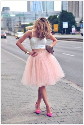 496999c5385851 Women's White Cropped Top, Pink Tulle Full Skirt, Hot Pink Suede ...