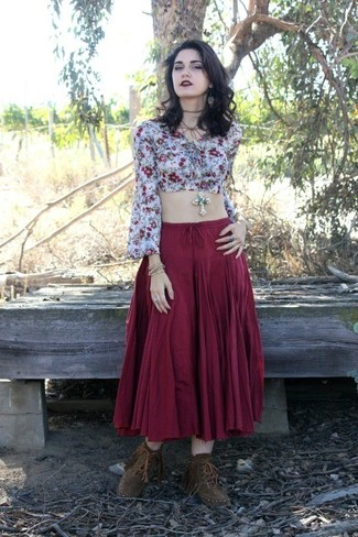 Women's Light Blue Cropped Top, Burgundy Maxi Skirt, Brown Fringe Suede Ankle Boots, Silver Pendant