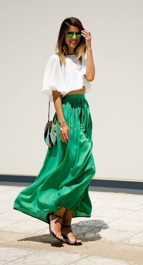 abf441de73 How to wear: white cropped top, green pleated maxi skirt, black leather flat