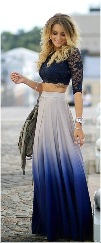 If you like a more relaxed approach to dressing up, why not consider wearing a navy lace cropped top and a white and blue pleated maxi skirt? Clearly, you're looking at a smart choice for a hot afternoon.