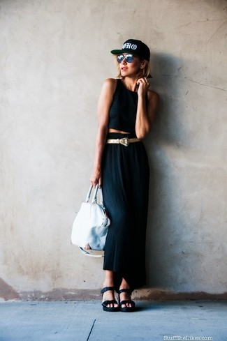 How to wear: black cropped top, black maxi skirt, black leather wedge sandals, white leather tote bag