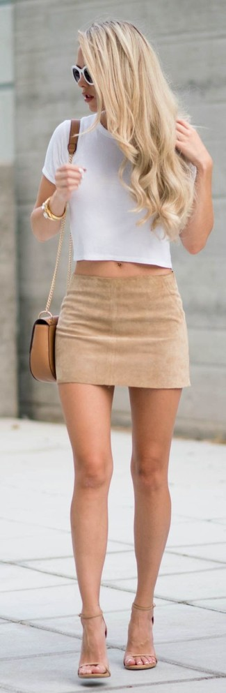 Women's White Cropped Top, Beige Suede Mini Skirt, Beige Leather ...