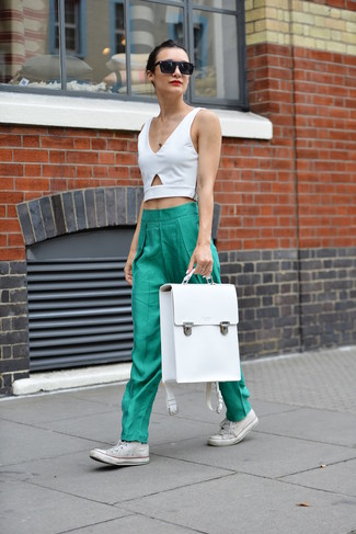 How to wear: white cutout cropped top, green pajama pants, white canvas high top sneakers, white leather backpack
