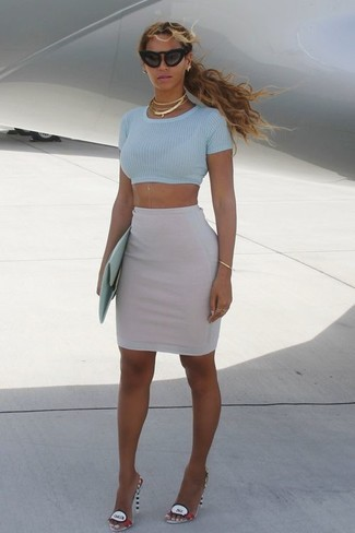 How to wear: light blue cropped top, grey pencil skirt, multi colored leather heeled sandals, mint leather clutch