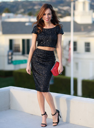How to wear: black sequin cropped top, black sequin pencil skirt, black leather heeled sandals, red leather clutch