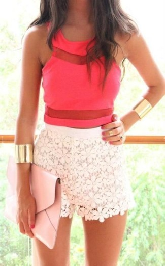 Hot Pink Cropped Top Outfits: Why not pair a hot pink cropped top with white lace shorts? Both of these items are super comfortable and will look great worn together.