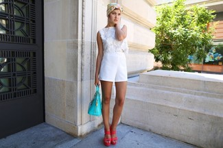 How to wear: white crochet cropped top, white shorts, hot pink leather heeled sandals, aquamarine leather tote bag