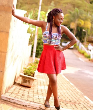 How to wear: multi colored print cropped top, red skater skirt, black leather ballerina shoes, gold bracelet