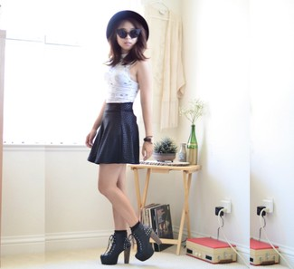 Women's White Cropped Top, Black Geometric Skater Skirt, Black Embellished Leather Lace-up Ankle Boots, Black Wool Hat