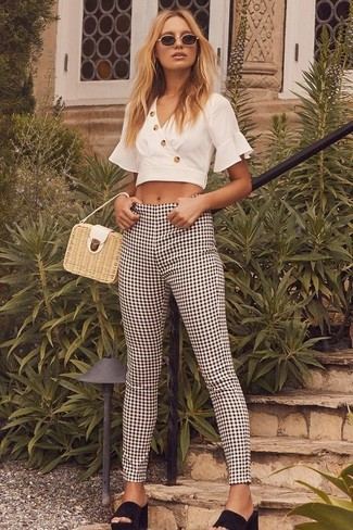 How to wear: white cropped top, black and white gingham skinny pants, black suede mules, beige straw handbag