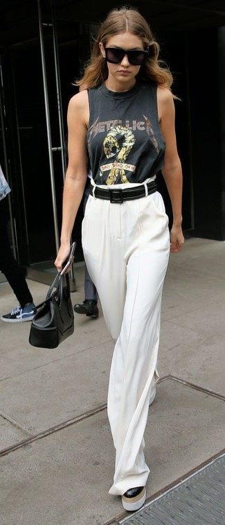 How to wear: charcoal print cropped top, white wide leg pants, black leather satchel bag, black leather belt