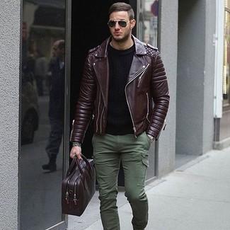 How to wear: dark brown leather biker jacket, black crew-neck sweater, olive cargo pants, dark purple leather briefcase