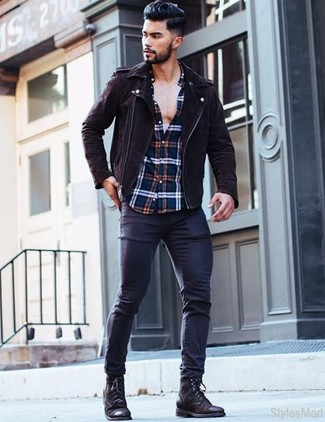 How to wear: dark brown suede biker jacket, white and red and navy plaid long sleeve shirt, navy skinny jeans, black leather casual boots