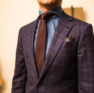 How to wear: dark brown plaid wool blazer, blue denim shirt, brown knit tie, brown print silk pocket square