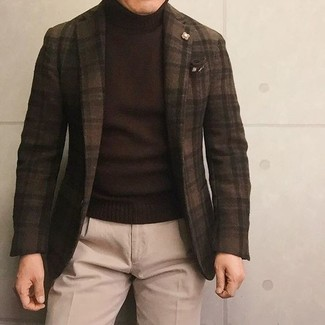 How to wear: dark brown check wool blazer, dark brown turtleneck, beige wool dress pants, dark brown print pocket square