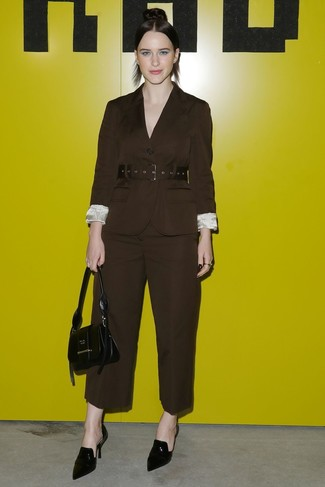 How to wear: dark brown blazer, dark brown wide leg pants, black leather mules, black leather handbag
