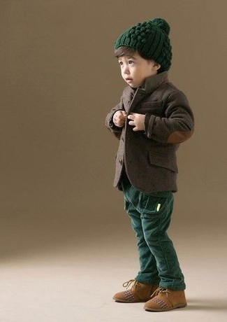 Boys' Dark Brown Blazer, Dark Green Trousers, Tan Suede Desert Boots, Dark Green Beanie