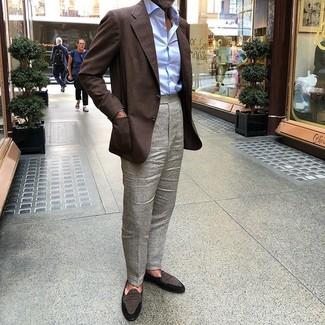 How to wear: dark brown blazer, light blue dress shirt, grey dress pants, dark brown suede loafers