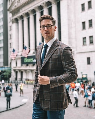 How to wear: dark brown check wool blazer, white dress shirt, teal chinos, teal knit tie