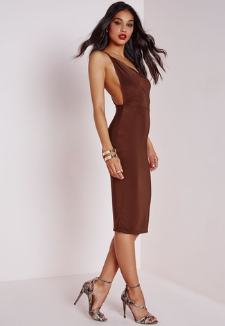 How to wear: dark brown bodycon dress, grey snake leather heeled sandals, gold bracelet