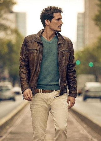 How to Wear a Belt For Men: Something as simple as wearing a dark brown leather bomber jacket and a belt will set you apart in a good way.