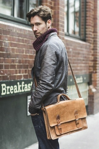 How to wear: dark brown leather bomber jacket, navy jeans, tan leather messenger bag, burgundy knit scarf