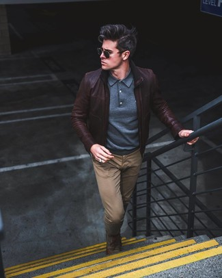0cce436a1afb How to wear: dark brown leather bomber jacket, navy polo neck sweater, brown