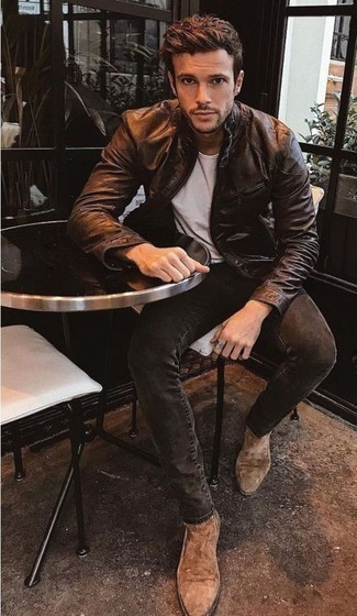 Charcoal Jeans Outfits For Men: Try pairing a dark brown leather bomber jacket with charcoal jeans for both dapper and easy-to-create getup. To introduce a little flair to your look, complement your ensemble with tan suede chelsea boots.