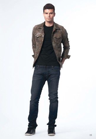 Men's Dark Brown Denim Jacket, Black Crew-neck T-shirt, Navy Jeans ...