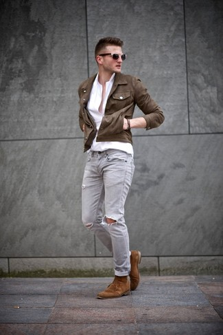 Men's Dark Brown Denim Jacket, White Long Sleeve Shirt, Grey Ripped Skinny Jeans, Tobacco Suede Desert Boots