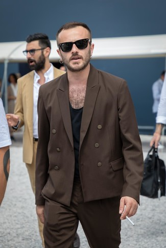 How to wear: dark brown double breasted blazer, black crew-neck t-shirt, dark brown dress pants, black sunglasses