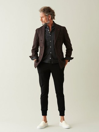 Men's Dark Brown Check Wool Double Breasted Blazer, Charcoal Long Sleeve Shirt, Black Chinos, White Slip-on Sneakers