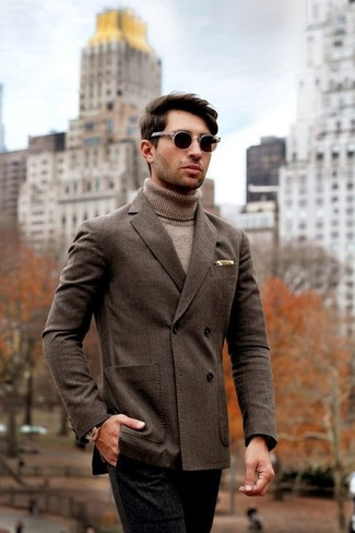 How to wear: dark brown double breasted blazer, tan turtleneck, black wool dress pants, dark brown sunglasses