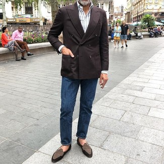 How to Wear a Dark Brown Double Breasted Blazer For Men: For a casually classic menswear style, choose a dark brown double breasted blazer and navy jeans — these two pieces play pretty good together. Inject your outfit with an extra dose of style by wearing brown suede loafers.