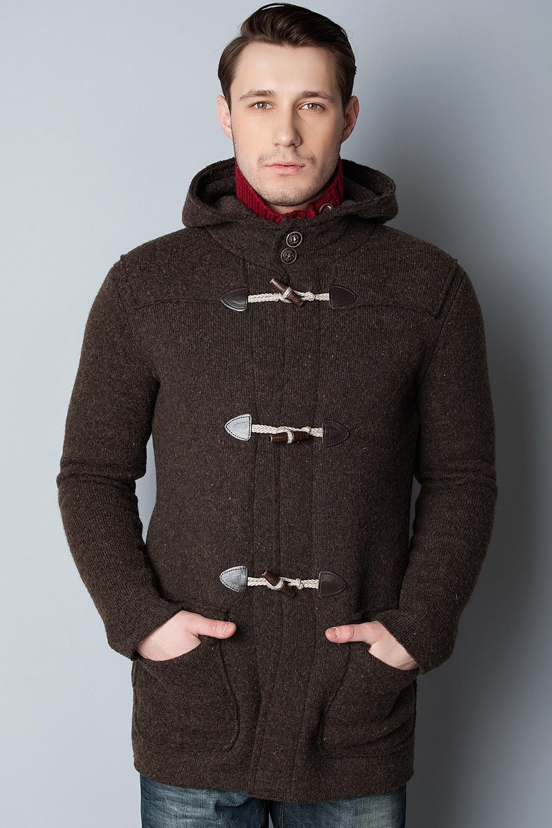 Men&39s Dark Brown Duffle Coat Red Knit Turtleneck Navy Jeans