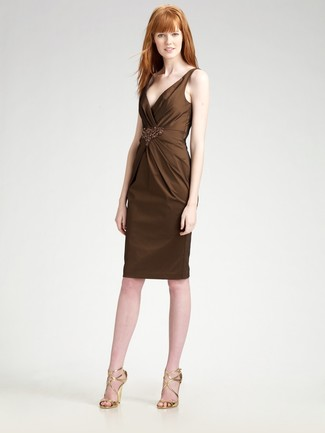 How to wear: dark brown embellished sheath dress, gold leather heeled sandals