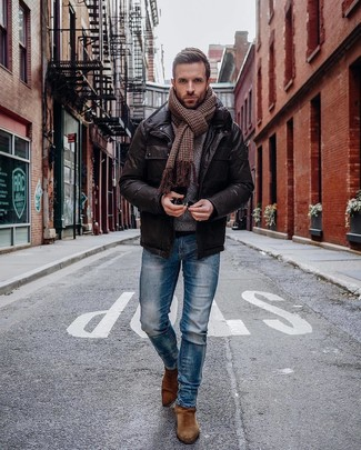 How to wear: dark brown leather field jacket, blue skinny jeans, brown suede chelsea boots, brown houndstooth scarf