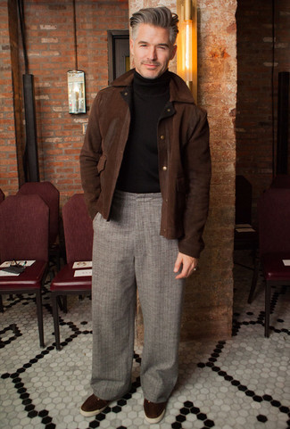 How to Wear a Dark Brown Suede Harrington Jacket: Try pairing a dark brown suede harrington jacket with grey plaid chinos for a practical ensemble that's also put together. Dark brown suede low top sneakers pull the outfit together.