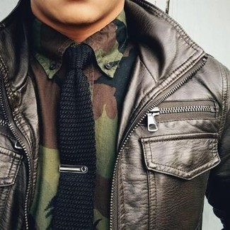 How to wear: dark brown leather bomber jacket, olive camouflage long sleeve shirt, black knit tie