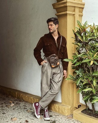 Grey Plaid Chinos Outfits: For an outfit that's super simple but can be flaunted in a multitude of different ways, dress in a dark brown corduroy long sleeve shirt and grey plaid chinos. Throw burgundy canvas high top sneakers into the mix to loosen things up.