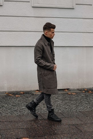 Charcoal Jeans Outfits For Men: For an ensemble that's street-style-worthy and casually neat, consider pairing a dark brown houndstooth overcoat with charcoal jeans. Bring a different twist to an otherwise simple look by sporting black leather chelsea boots.