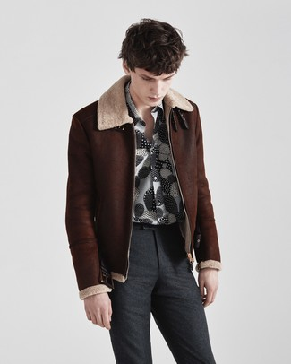 How to wear: dark brown shearling jacket, black and white print long sleeve shirt, charcoal wool dress pants