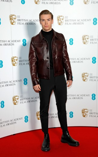 How to wear: dark brown leather shirt jacket, black turtleneck, black chinos, black leather chelsea boots