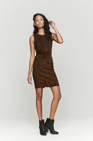 How to wear: dark brown suede sheath dress, black leather ankle boots